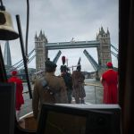 Pipers play as Havengore heads towards Tower Bridge